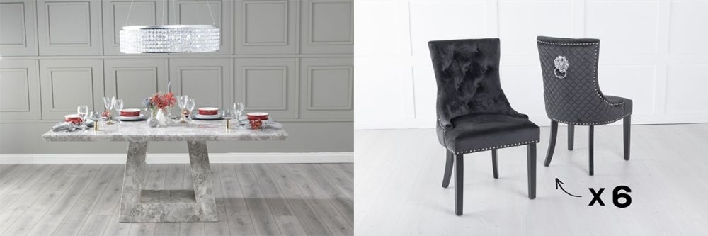 Urban Deco Milan 200cm Grey Marble Dining Table and 6 Lion Head Black Chairs