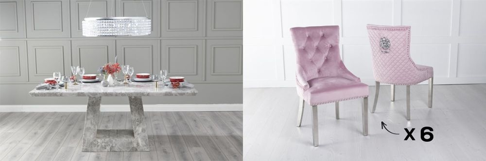 Urban Deco Milan 200cm Grey Marble Dining Table and 6 Lion Head Pink Chairs with Chrome Legs