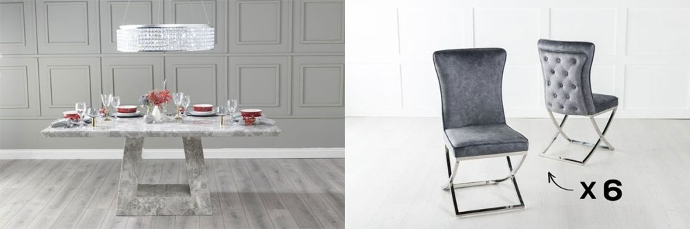 Urban Deco Milan 160cm Grey Marble Dining Table and 6 Lyon Grey Chairs