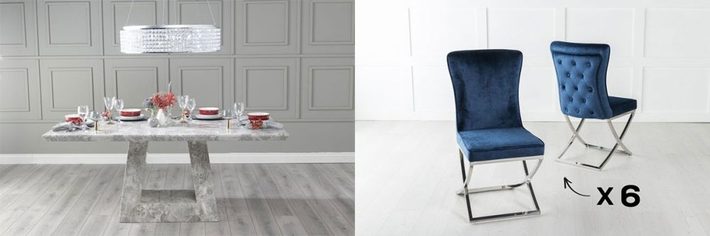 Urban Deco Milan 180cm Grey Marble Dining Table and 6 Lyon Blue Chairs