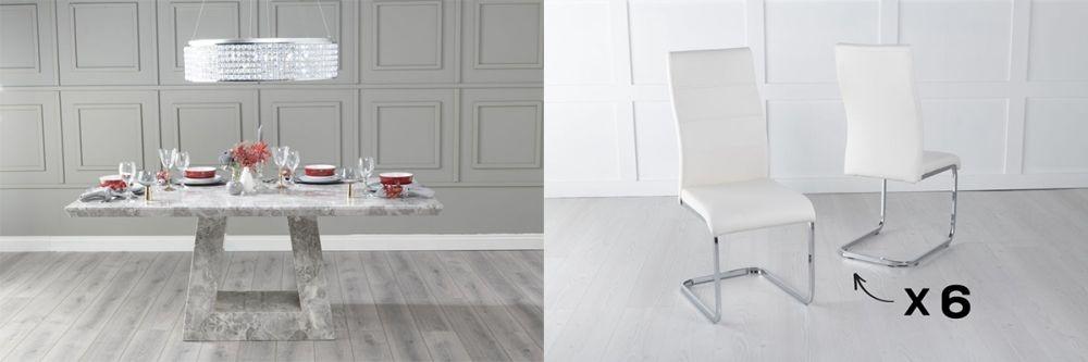 Urban Deco Milan 200cm Grey Marble Dining Table and 6 Malibu Cream Chairs