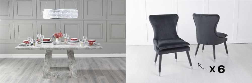 Urban Deco Milan 160cm Grey Marble Dining Table and 6 Mason Black Chairs