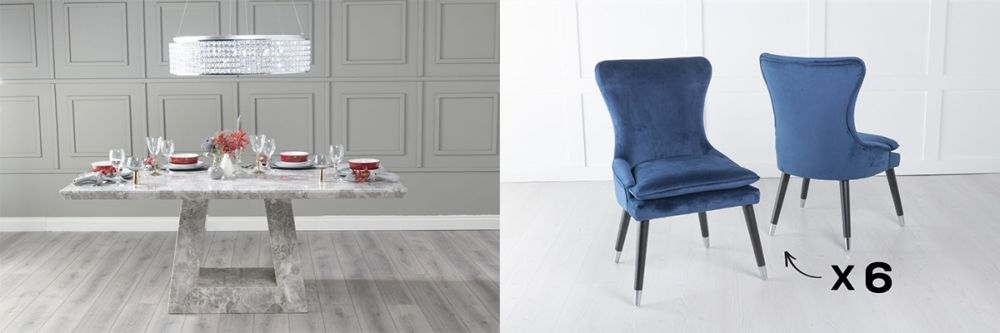 Urban Deco Milan 200cm Grey Marble Dining Table and 6 Mason Blue Chairs