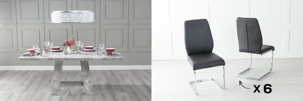 Urban Deco Milan 160cm Grey Marble Dining Table and 6 Oslo Black Chairs