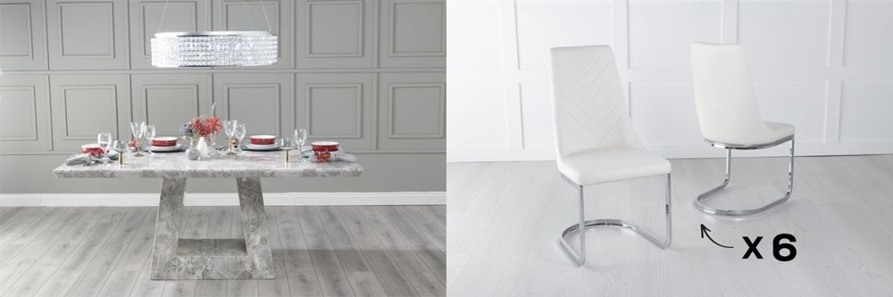 Urban Deco Milan 160cm Grey Marble Dining Table and 6 Pheonix Cream Chairs