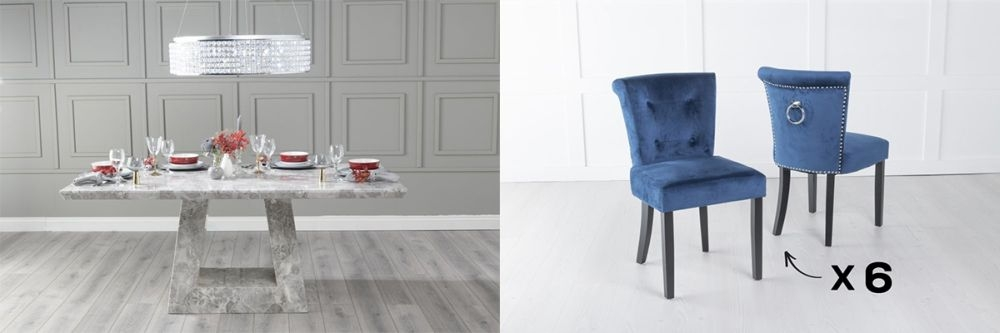 Urban Deco Milan 180cm Grey Marble Dining Table and 6 Sandringham Blue Chairs