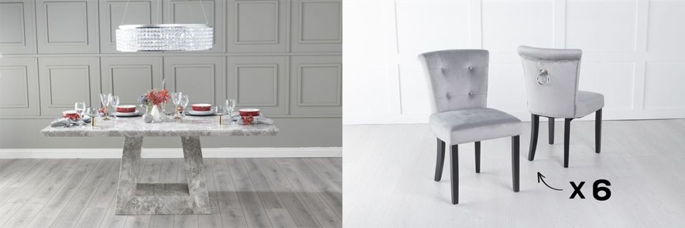 Urban Deco Milan 180cm Grey Marble Dining Table and 6 Sandringham Light Grey Chairs