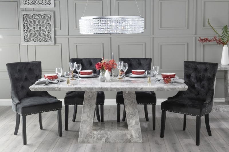 Urban Deco Milan 160cm Grey Marble Dining Table with 6 Black Knockerback Chairs
