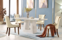 Urban Deco Milan White Marble 160cm Rectangular Dining Set with Seville Cream Chairs