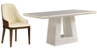 Urban Deco Milan White Marble 160cm Rectangular Dining Set with Madrid Cream Chairs