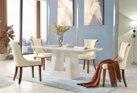 Urban Deco Milan White Marble 180cm Rectangular Dining Set with Seville Cream Chairs