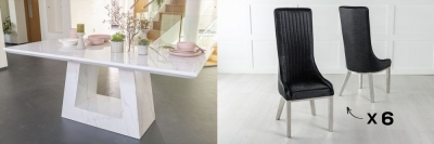 Urban Deco Milan 160cm White Marble Dining Table and 6 Allure Black Chairs