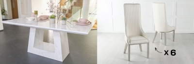 Urban Deco Milan 160cm White Marble Dining Table and 6 Allure White Chairs