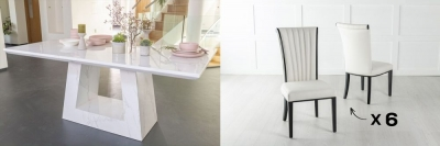 Urban Deco Milan 160cm White Marble Dining Table and 6 Cadiz White Chairs
