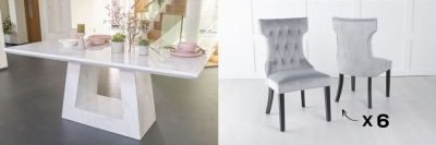 Urban Deco Milan 160cm White Marble Dining Table and 6 Courtney Light Grey Chairs