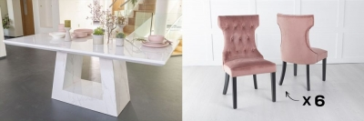 Urban Deco Milan 160cm White Marble Dining Table and 6 Courtney Pink Chairs