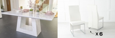 Urban Deco Milan 160cm White Marble Dining Table and 6 Enzo Cream Chairs
