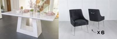 Urban Deco Milan 200cm White Marble Dining Table and 6 Giovanni Black Chairs