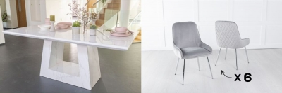 Urban Deco Milan 160cm White Marble Dining Table and 6 Hamilton Light Grey Chairs