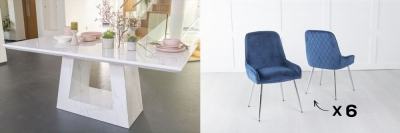 Urban Deco Milan 180cm White Marble Dining Table and 6 Hamilton Blue Chairs