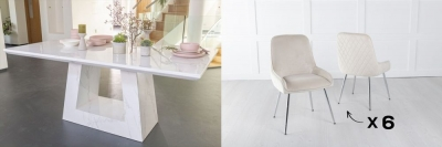 Urban Deco Milan 200cm White Marble Dining Table and 6 Hamilton Champagne Chairs