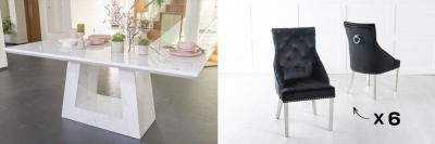 Urban Deco Milan 160cm White Marble Dining Table and 6 Large Knockerback Black Chairs with Chrome Legs