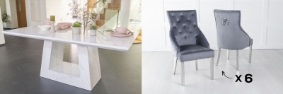 Urban Deco Milan 160cm White Marble Dining Table and 6 Large Knockerback Grey Chairs with Chrome Legs