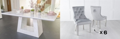 Urban Deco Milan 180cm White Marble Dining Table and 6 Knockerback Light Grey Chairs with Chrome Legs
