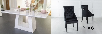 Urban Deco Milan 180cm White Marble Dining Table and 6 Large Knockerback Black Chairs