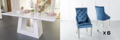 Urban Deco Milan 200cm White Marble Dining Table and 6 Large Knockerback Blue Chairs with Chrome Legs