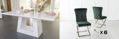 Urban Deco Milan 200cm White Marble Dining Table and 6 Lyon Green Chairs