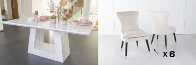 Urban Deco Milan 160cm White Marble Dining Table and 6 Mason Champgne Chairs