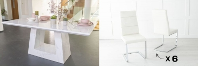 Urban Deco Milan 200cm White Marble Dining Table and 6 Miami Cream Chairs
