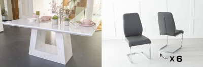 Urban Deco Milan 160cm White Marble Dining Table and 6 Oslo Dark Grey Chairs