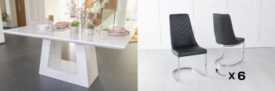 Urban Deco Milan 160cm White Marble Dining Table and 6 Pheonix Black Chairs