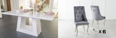 Urban Deco Milan 180cm White Marble Dining Table and 6 Premiere Grey Chairs