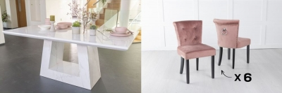 Urban Deco Milan 200cm White Marble Dining Table and 6 Sandringham Pink Chairs