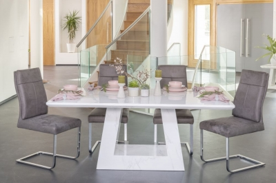 Urban Deco Milan 160cm White Marble Rectangular Dining Set with 6 Donatella Grey Chairs