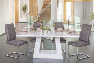 Urban Deco Milan 180cm White Marble Rectangular Dining Set with 6 Donatella Grey Chairs
