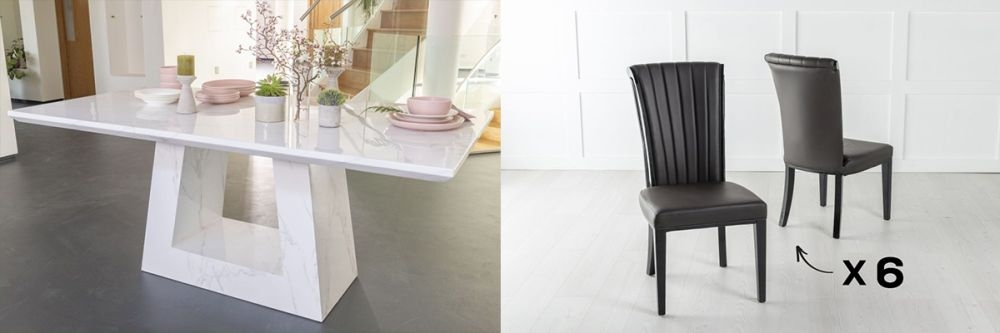 Product photograph showing Urban Deco Milan 200cm White Marble Dining Table And 6 Cadiz Brown Chairs