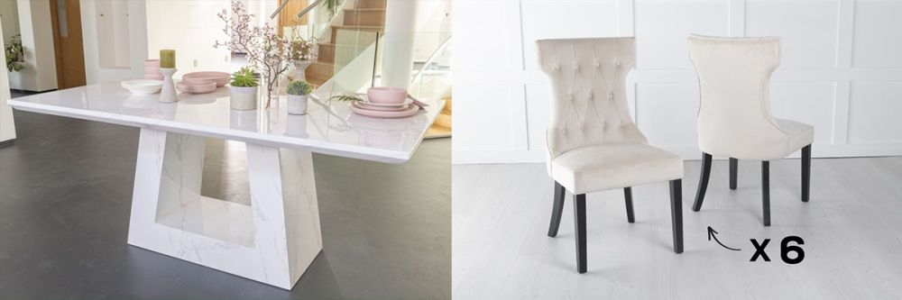 Product photograph showing Urban Deco Milan 160cm White Marble Dining Table And 6 Courtney Champagne Chairs