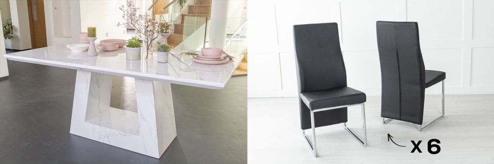 Urban Deco Milan 160cm White Marble Dining Table and 6 Enzo Black Chairs