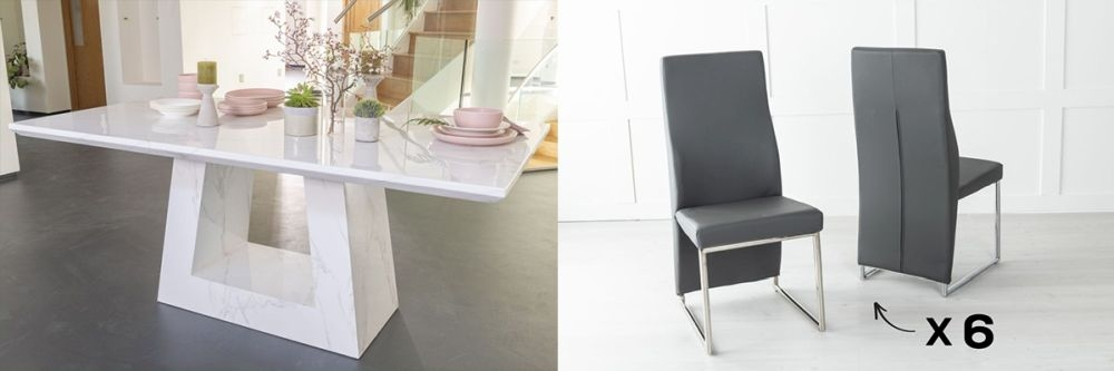 Urban Deco Milan 160cm White Marble Dining Table and 6 Enzo Grey Chairs