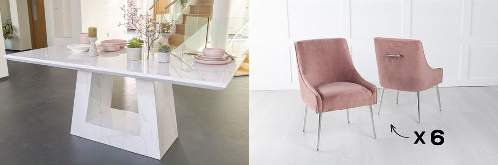 Urban Deco Milan 160cm White Marble Dining Table and 6 Giovanni Pink Chairs