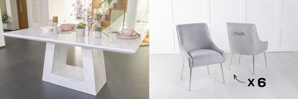 Urban Deco Milan 180cm White Marble Dining Table and 6 Giovanni Light Grey Chairs