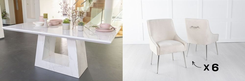 Urban Deco Milan 200cm White Marble Dining Table and 6 Giovanni Champagne Chairs