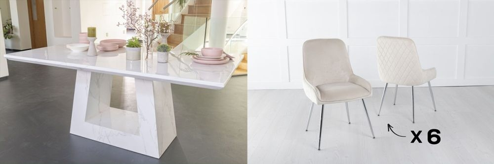 Urban Deco Milan 160cm White Marble Dining Table and 6 Hamilton Champagne Chairs
