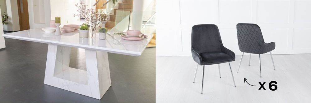 Urban Deco Milan 200cm White Marble Dining Table and 6 Hamilton Black Chairs