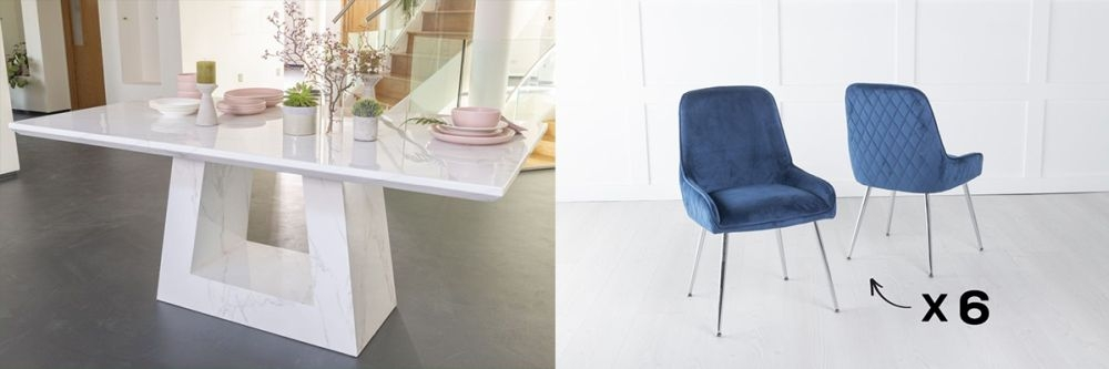 Urban Deco Milan 200cm White Marble Dining Table and 6 Hamilton Blue Chairs