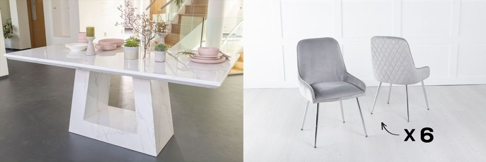Urban Deco Milan 200cm White Marble Dining Table and 6 Hamilton Light Grey Chairs